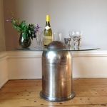 Bullet table with wine